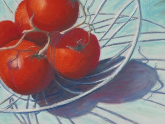 Tomatoes in Wire Basket (pastel) 40x30cm $120