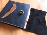 Leaf motif leather covered book