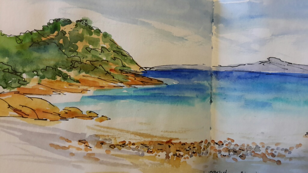 Ink and watercolour. Sardinia