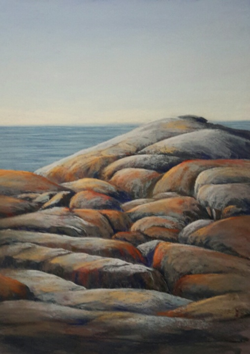 pastel painitng - rocks