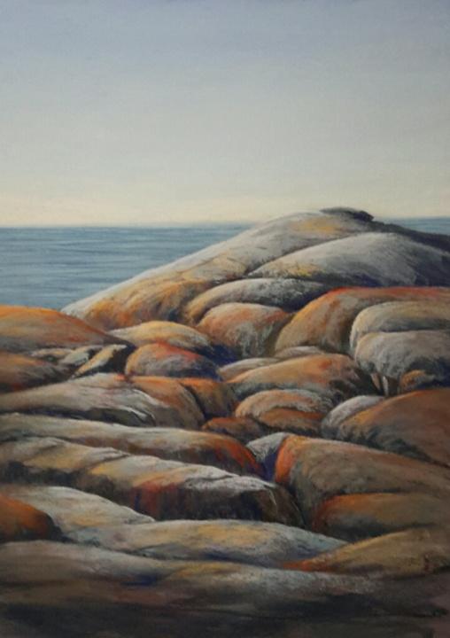 pastel painitng - rocks