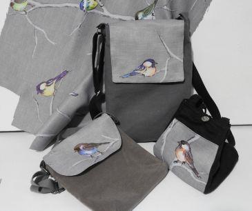 Bird print handmade bag.