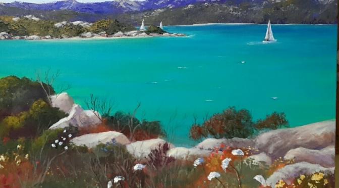 Sardinian coast painting.