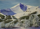 Lone mountain painting.