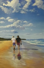 SOLD The beach walk. Acrylic painting.