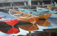 """Wooden Boats"" Acrylic canvas 90x60cms $400AUS"