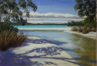 """Summer Beach"" Unframed pastel 30 x30cm $110AUS"