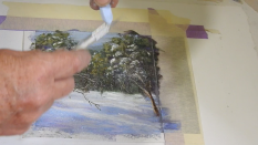 Scrape pastel with knife to release a snowfall!