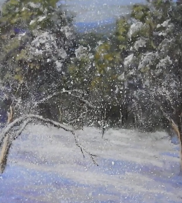 Painting snow in pastels.