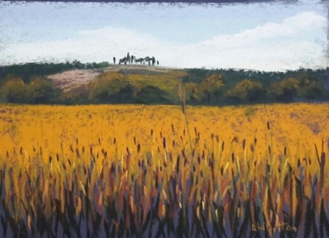 Tuscan wheatfields. Pastel painting