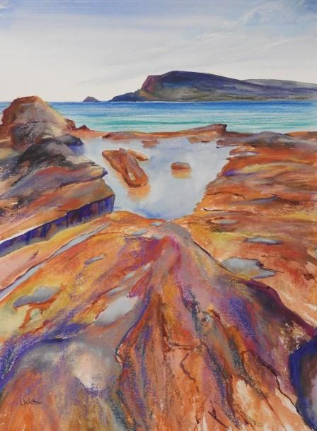 Mixed media painting of rocks.