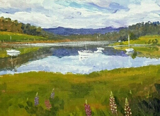 Summer on the Huon River. Acrylic on canvas. 15 x 15cm $75