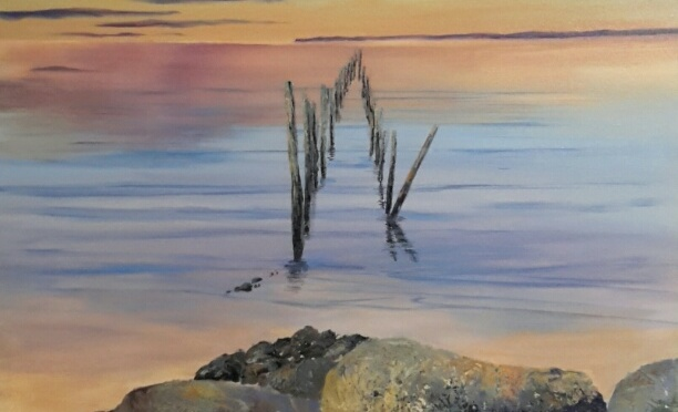 The Evening Jetty Acrylic painting